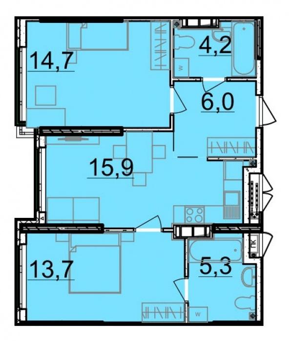 Планировки двухкомнатных квартир 59.8 м^2